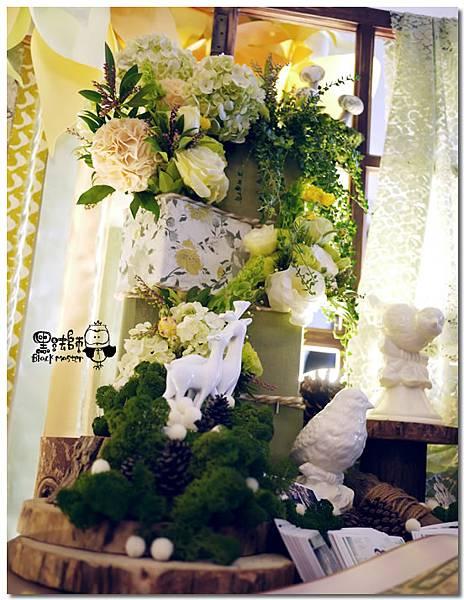 清新黃綠x紙花森林風 婚禮佈置 相簿桌01.jpg
