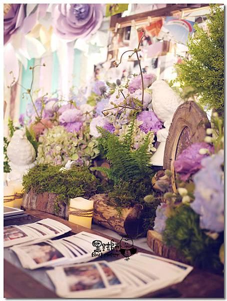 紙花x紫色森林風 婚禮布置 相簿桌02.jpg