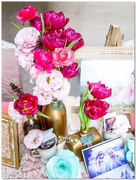 粉桃藍金色調的燦爛典雅紙花婚禮 收禮桌 耿嘉%26;艾倫 01.jpg