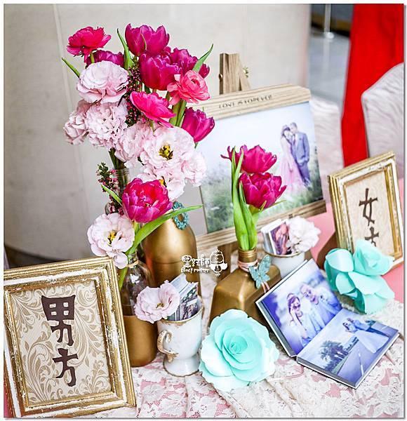 粉桃藍金色調的燦爛典雅紙花婚禮 收禮桌 耿嘉%26;艾倫 02.jpg
