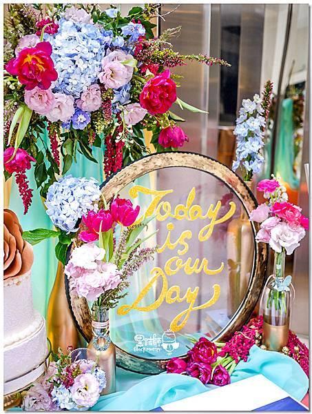 粉桃藍金色調的燦爛典雅紙花婚禮 相簿桌 耿嘉%26;艾倫 02.jpg