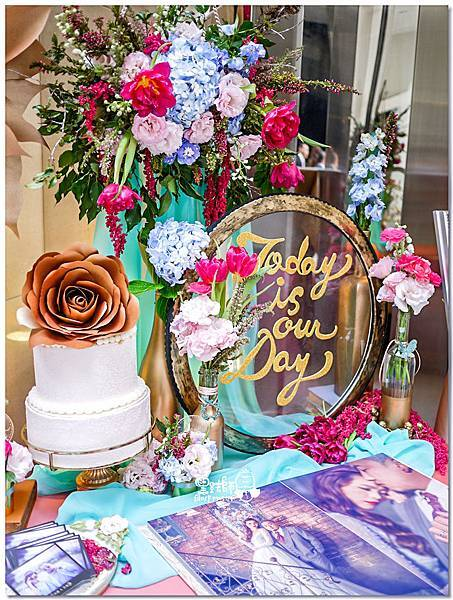 粉桃藍金色調的燦爛典雅紙花婚禮 相簿桌 耿嘉%26;艾倫 05.jpg