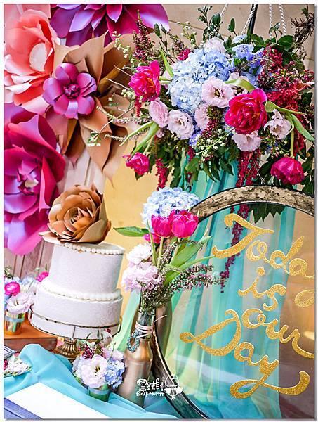 粉桃藍金色調的燦爛典雅紙花婚禮 相簿桌 耿嘉%26;艾倫 08.jpg
