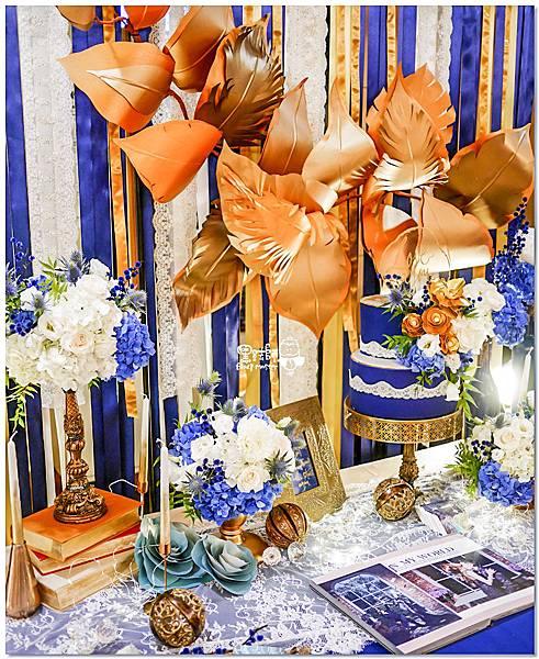 寶石藍X閃耀金 沉穩時尚華麗紙花婚禮 Jay%26;Marian 相簿桌07.jpg