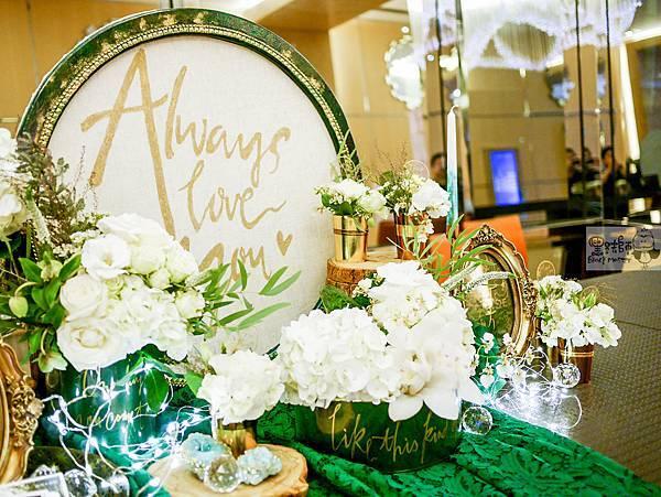 白綠金紙花x自然華麗風 婚禮佈置 收禮桌 孟原%26;思穎 05.jpg