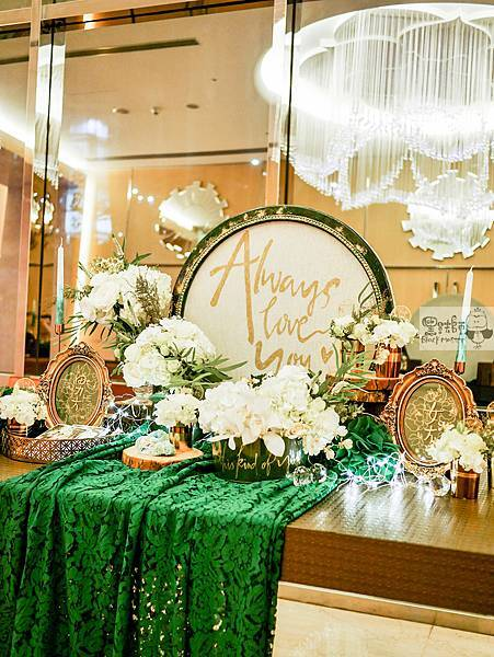 白綠金紙花x自然華麗風 婚禮佈置 收禮桌 孟原%26;思穎 07.jpg