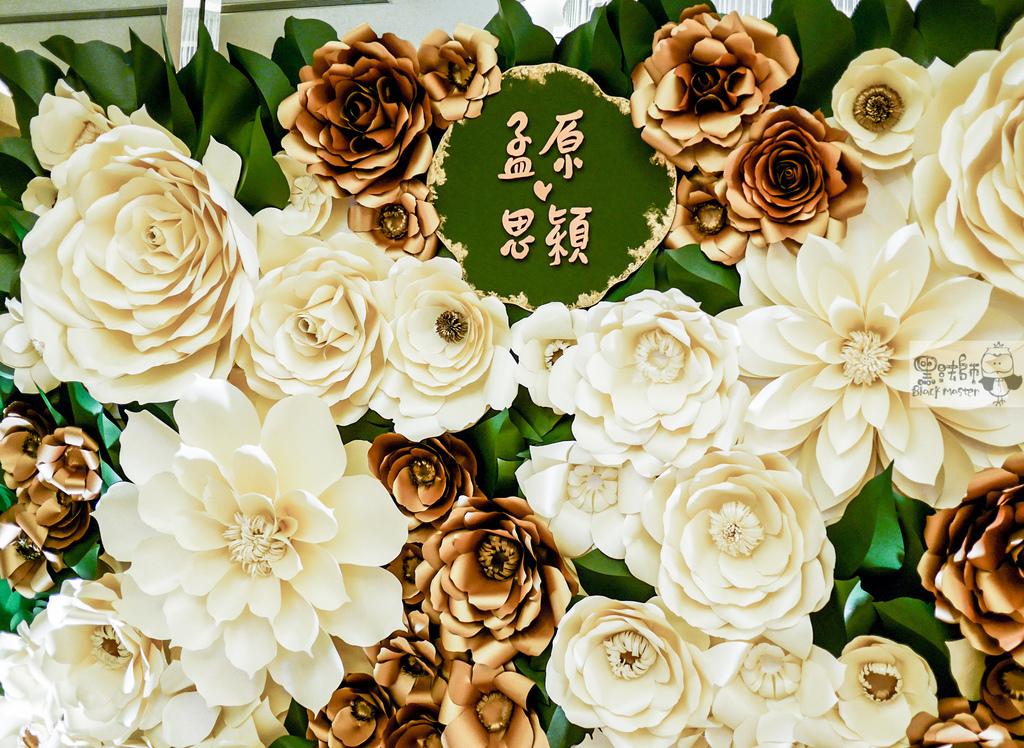 白綠金紙花x自然華麗風 婚禮佈置 紙花牆 孟原%26;思穎 01.jpg