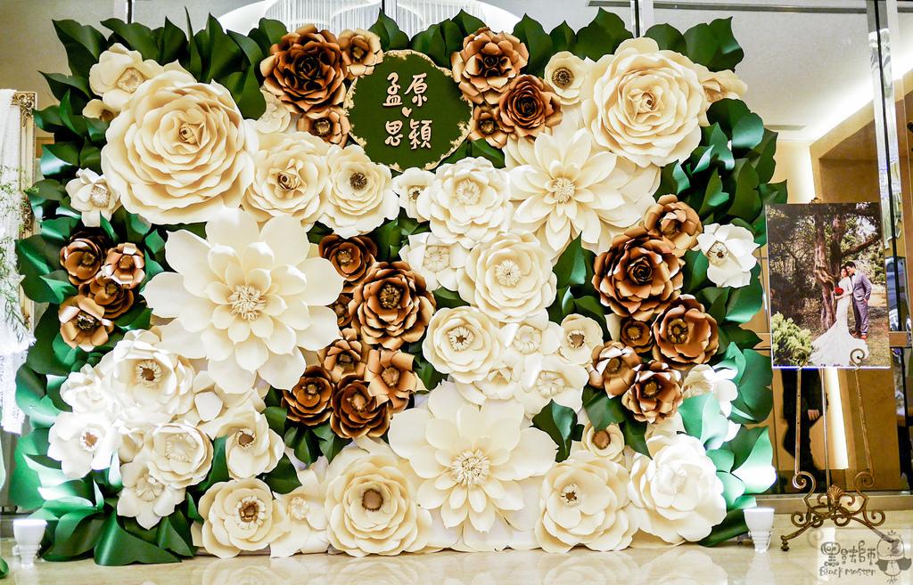 白綠金紙花x自然華麗風 婚禮佈置 紙花牆 孟原%26;思穎 03.jpg