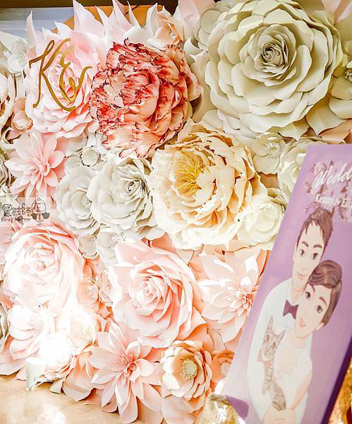 白粉色的優雅x紙花婚禮佈置 紙花牆 Kenny%26;Eliza 01.jpg