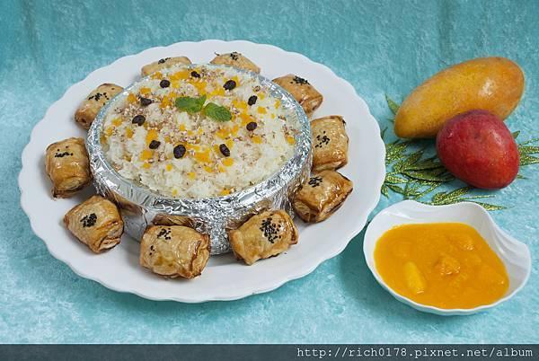 父親節創意料理_芒果香釀糯米飯拼藍莓派