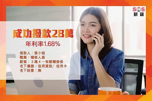 2019.6.13 張小姐 28萬 信用貸款成功紀錄-01