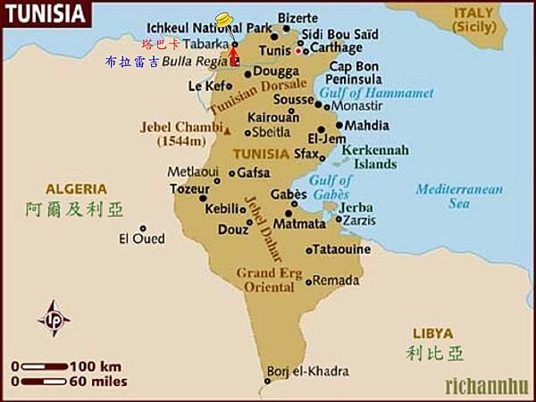 突尼西亞地圖之Tabarka