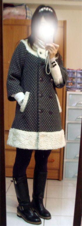LA超美拼接毛毛點點毛料大衣-2