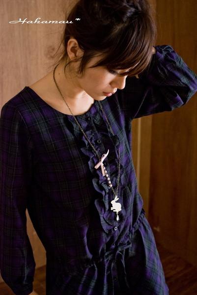 HahaMau日牌雜誌款胸口荷葉腰部格紋綁帶洋裝-賣家圖3