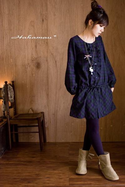 HahaMau日牌雜誌款胸口荷葉腰部格紋綁帶洋裝-賣家圖1