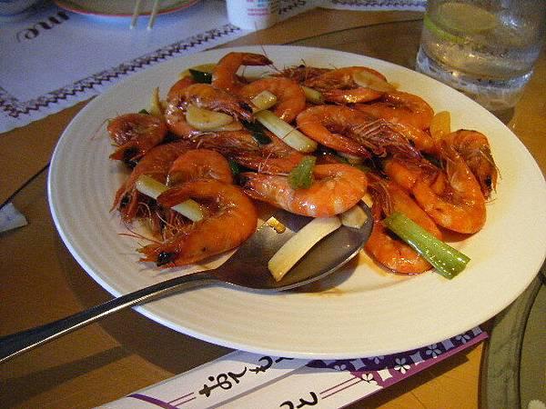 晚餐的蝦蝦