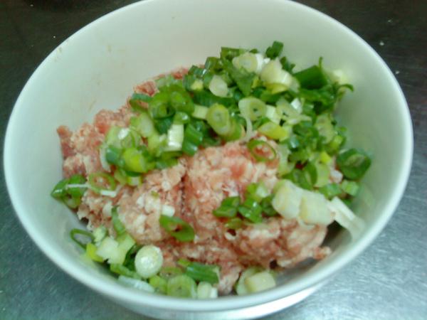 青蔥和絞肉