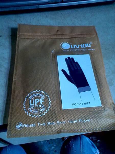 抗UV-涼感格紋拼接短手套(1)