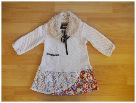 編號219.日本品牌厚棉拼布洋裝(毛領可拆)100cm