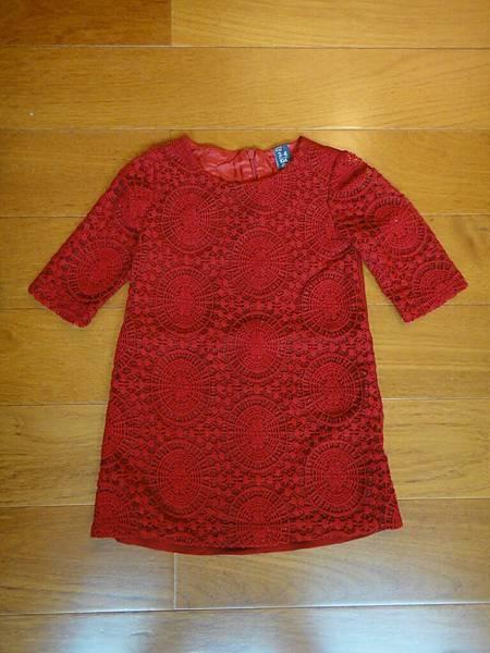 編號280.ZARA大紅蕾絲洋裝3-4Y