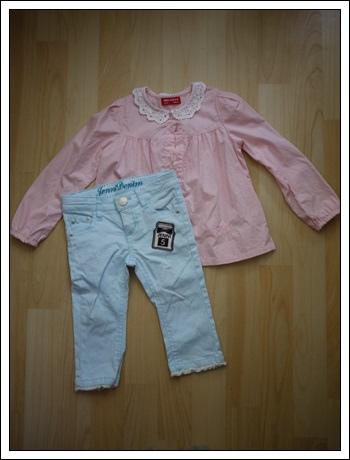 編號300.1/2蕾絲領襯衫100cm+sister jenni牛仔褲100cm