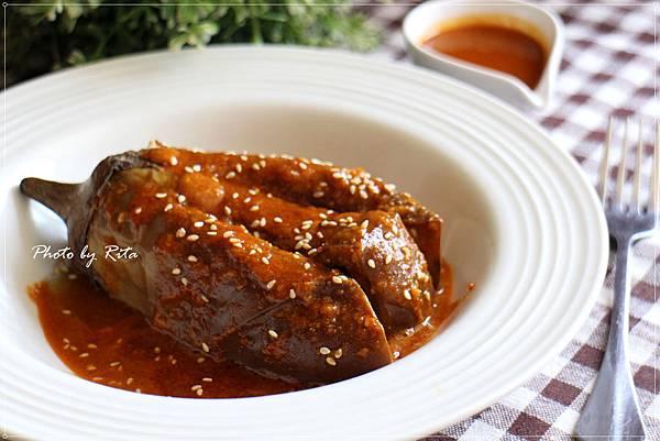烤茄子搭辣花生醬
