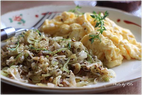 香煎韭蔥和美式炒蛋