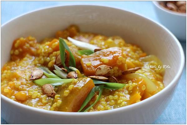 小米.南瓜和甜玉米炊飯