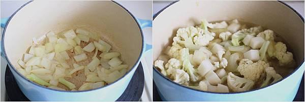 花椰菜根芹菜濃湯佐烤香菇