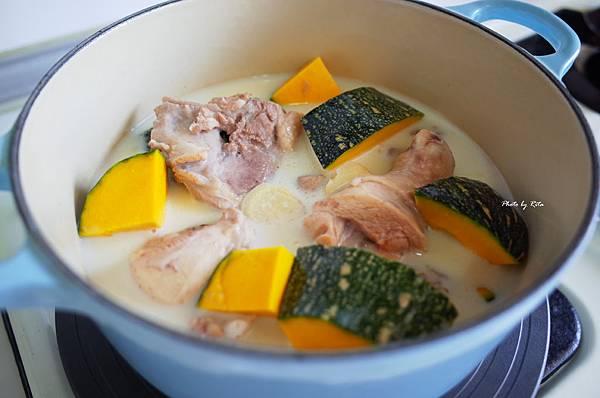 南瓜豆漿雞湯