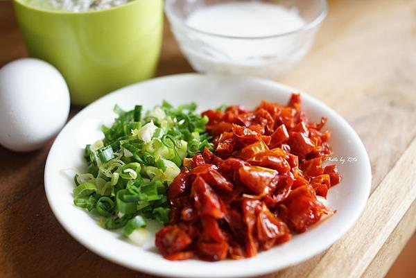 布里起司瑪德蓮與青蔥、日曬番茄乾