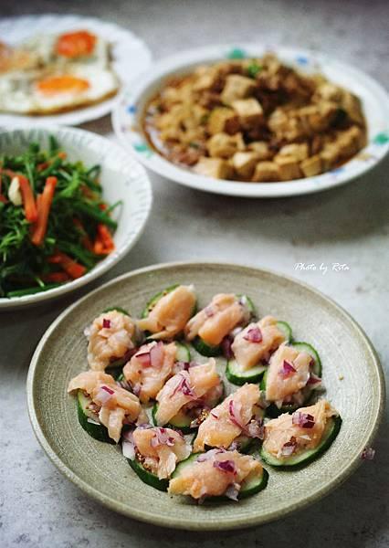 煙燻鮭魚佐小黃瓜片