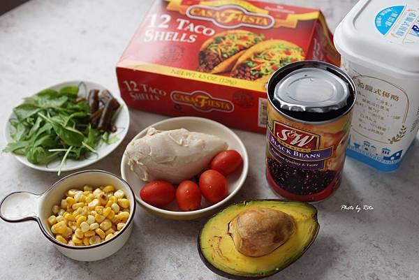 雞肉塔可:黑豆、酪梨、玉米與番茄