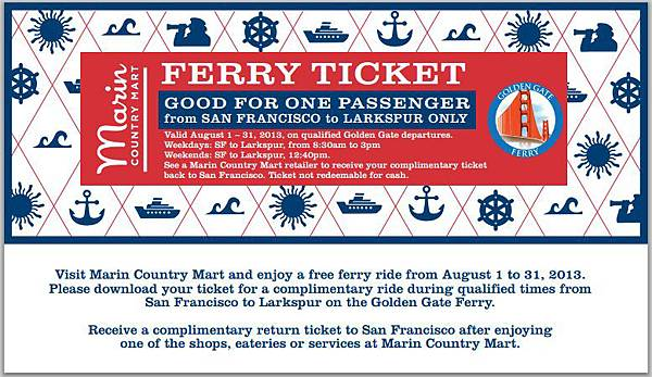 Golden Gate Ferry Free Ticket
