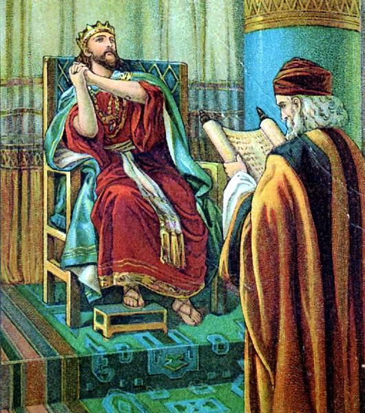 約西亞聆聽書記沙番讀律法書