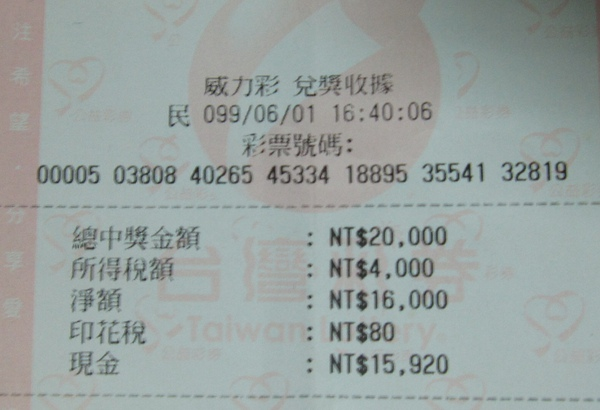 威力彩四獎實領NT$15,920