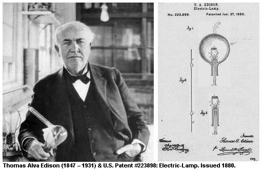 愛迪生(Thomas Alva Edison) 與他的美國燈泡專利