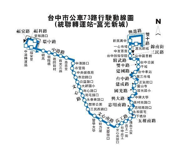 台中市公車73路行駛動線圖