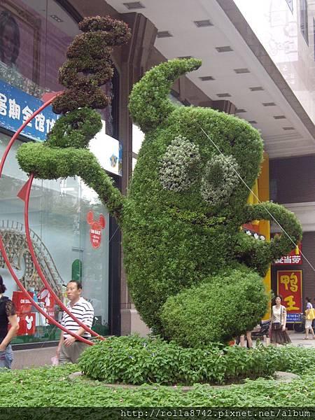 可愛的世博吉祥物樹雕