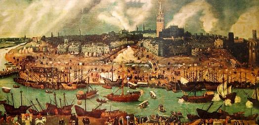 Vue-Séville-et-de-son-port-au-XVIème