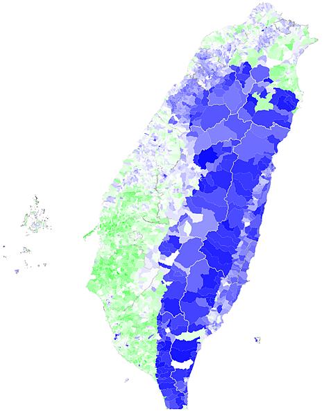 2012總統大選村里政治光譜