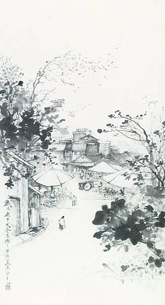 鄉下市場即景( 畫作作者:松竹軒)