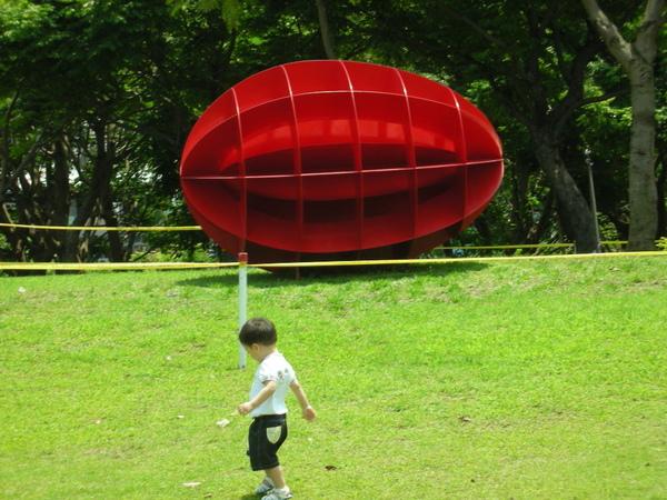 這紅色的橄欖球也很美