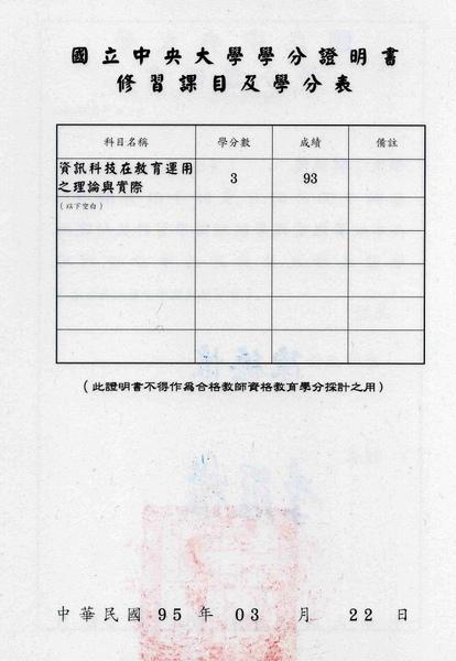 07B 中央大學資訊電機網路學習科技研究所學分證書(資訊科技在教育運用之理論與實際)背面.jpg