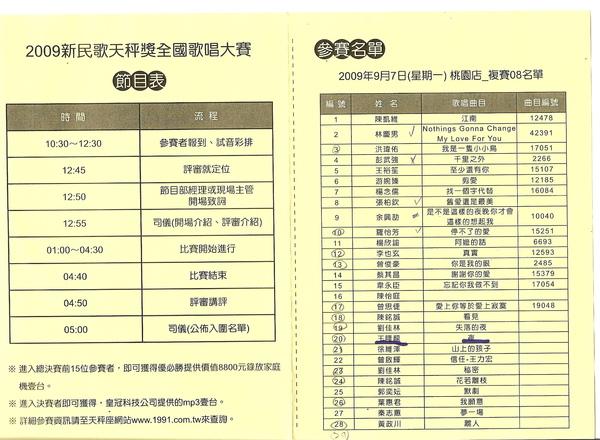 2009.9.7 桃園天秤座民歌西餐廳 複賽名單.jpg
