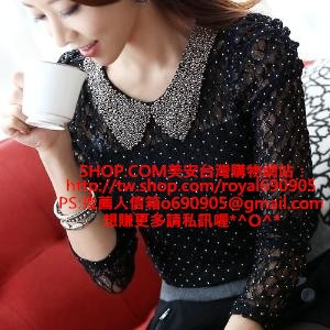 韓版手工珠領點點蕾絲修身上衣