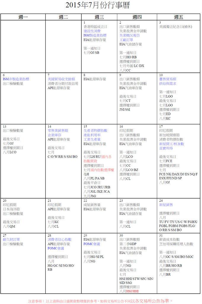 七月份外期行事曆