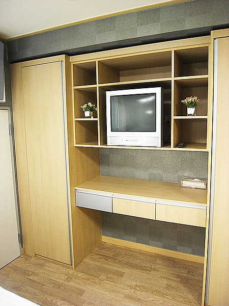 電視機旁的置物櫃真多,還有穿衣鏡