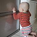 發現冰箱反射的自己