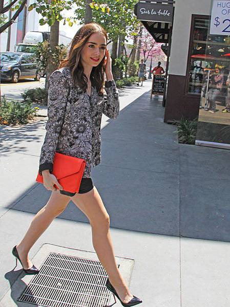 lily-collins-extra-helmut-lang-mandala-wet-print-blazer-thakoon-makos-leather-shorts-christian-louboutin-pigalle-patent-pumps-givenchy-mini-shark-tooth-necklace-loeffler-randall-lock-clutch